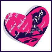 láska v Paříži - vektorové ilustrace.