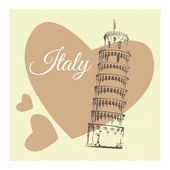 Vector illustration with pisa in heart.