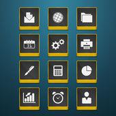 pénzügyi és üzleti-vektor ikon készlet fekete színű gomb keretben.