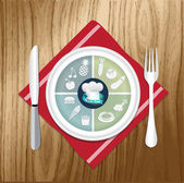 vektorové ilustrace oběd položek