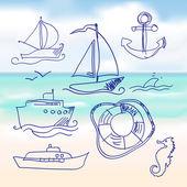 moře a ručně kreslené člun sada. vektor