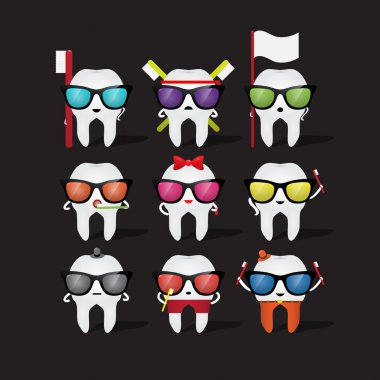 Icon set. Cartoon tooth holding a toothbrush stock vector