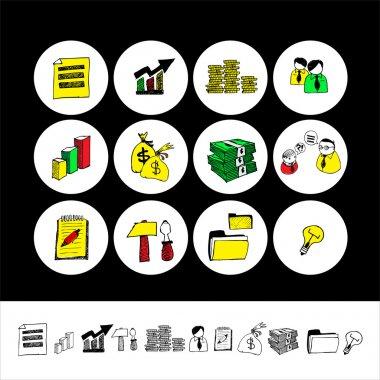 Cartoon Finance & Money Icon set. Vector stock vector