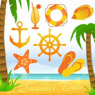 Summer time vector collection elements stock vector