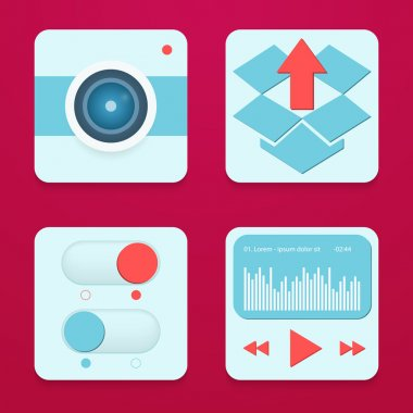 Typical mobile phone apps and services icons. stock vector