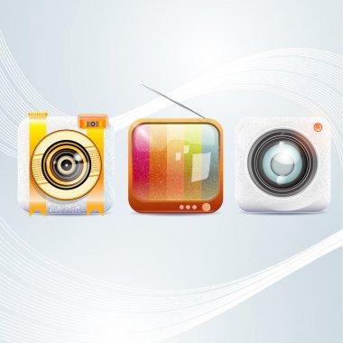 Phone menu icons, vector illustration stock vector