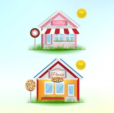 Set of Cartoon Shops. Pizzeria and Sweet shop. Vector Illustration. stock vector