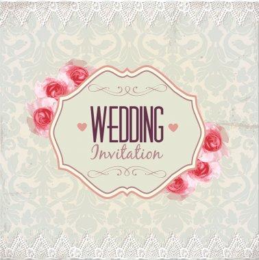 Wedding invitation. Vintage lace vector design. stock vector