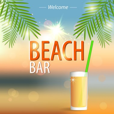 Beach Bar poster. Vector background. stock vector