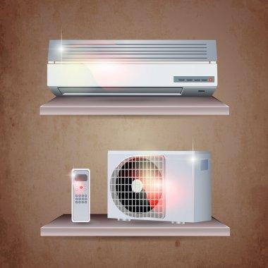 Air conditioner vector set stock vector