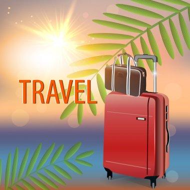 Travel suitcase on tropical beach. Vector stock vector
