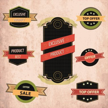 Collection of High Quality labels stock vector