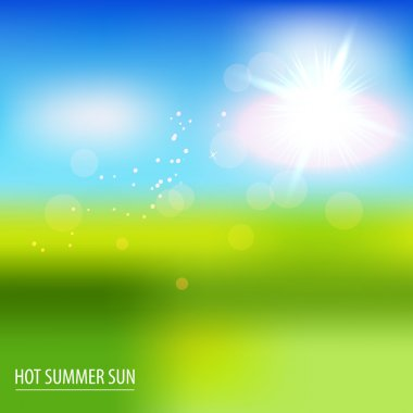 Green field and blue sky with summer sun. Vector illustration. stock vector