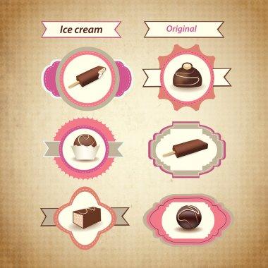 Retro ice cream icons. Vector stock vector