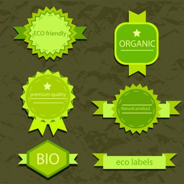 Collection of vintage grunge bio and eco labels natural products stock vector