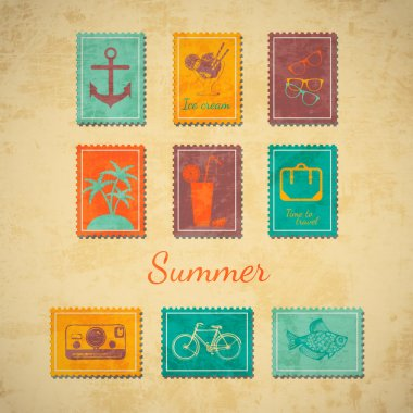 Vector summer stamps, vector illustration stock vector
