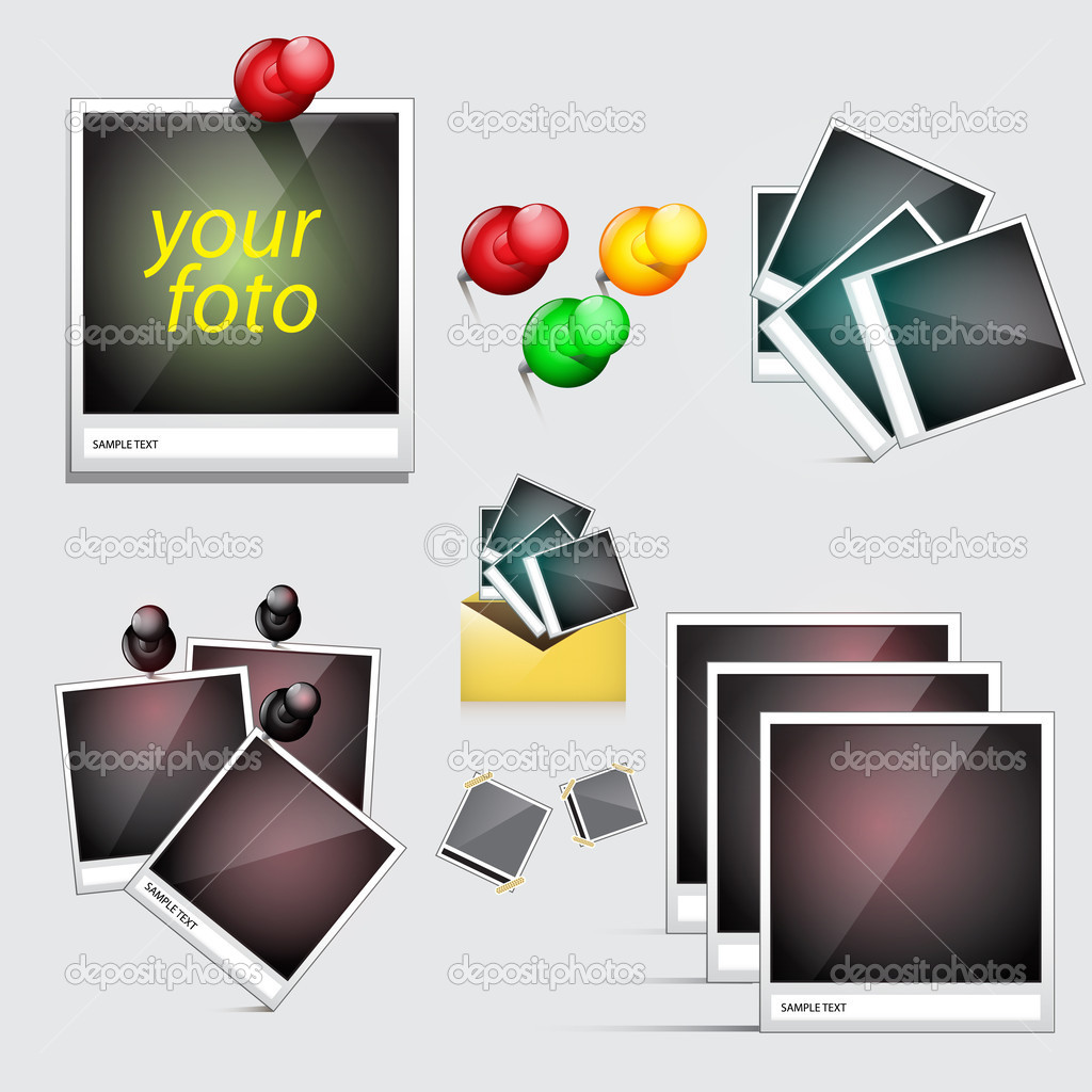 Vector icons set. Instant photo with pin stock vector