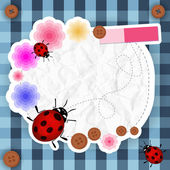 Cute pink frame with flowers, buttons and ladybug