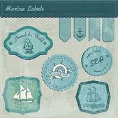 Vintage marine labels vector illustration