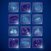 Sportovní životní styl ikony vektorové ilustrace