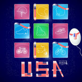 USA independence day vector icons set