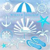 Summer signs set vector illustration
