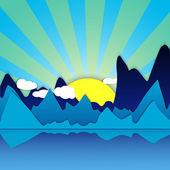 Horská sunrise pozadí vektorové ilustrace