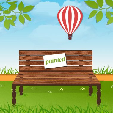 Wooden bench in park stock vector