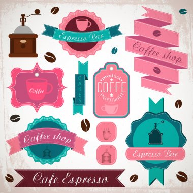 Set of vintage retro coffee badges and labels stock vector