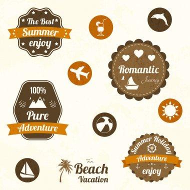 Retro travel labels. vector illustration stock vector
