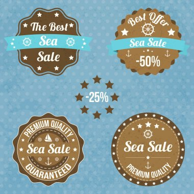 Set of vintage retro nautical badges and labels stock vector