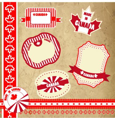 Set of Canada labels, badges and stickers stock vector