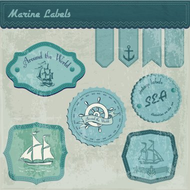 Vintage marine labels vector illustration stock vector