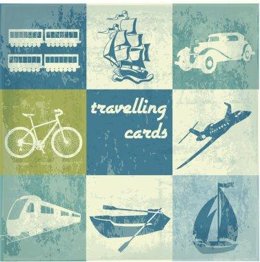 Vintage traveling cards vector illustration stock vector