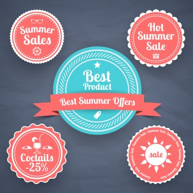 Summer sale design emblems set stock vector