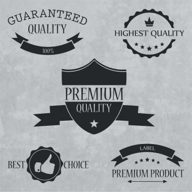 Quality and guaranteed - vector signs, emblems and labels stock vector