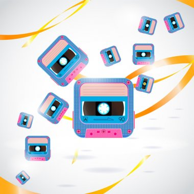 Vector background with cassettes stock vector