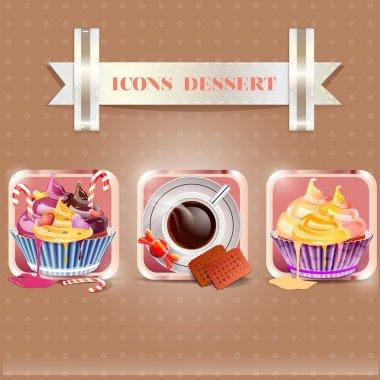 Icons dessert vector illustration stock vector