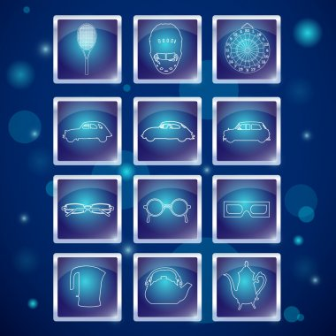 Different web elements: sports, auto, glasses, kettle stock vector