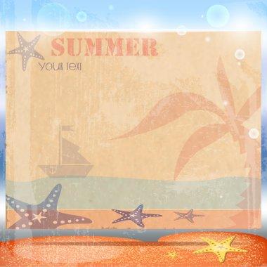 Vintage summer postcard vector illustration stock vector