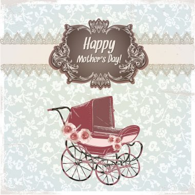 Vintage happy Mother's Day card stock vector