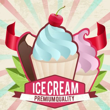 Vintage ice cream card stock vector