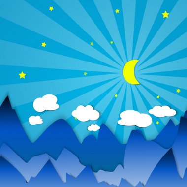 Crescent in the mountains vector illustration stock vector