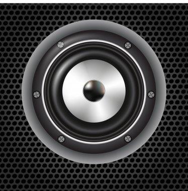 Speaker on mesh background stock vector