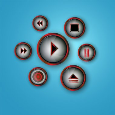 Media player buttons vector set stock vector