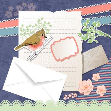 Vector greeting card with bird stock vector