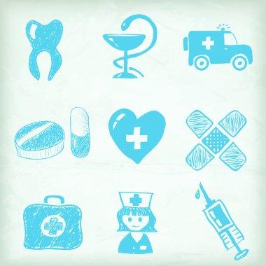 Artistic medical icon set stock vector
