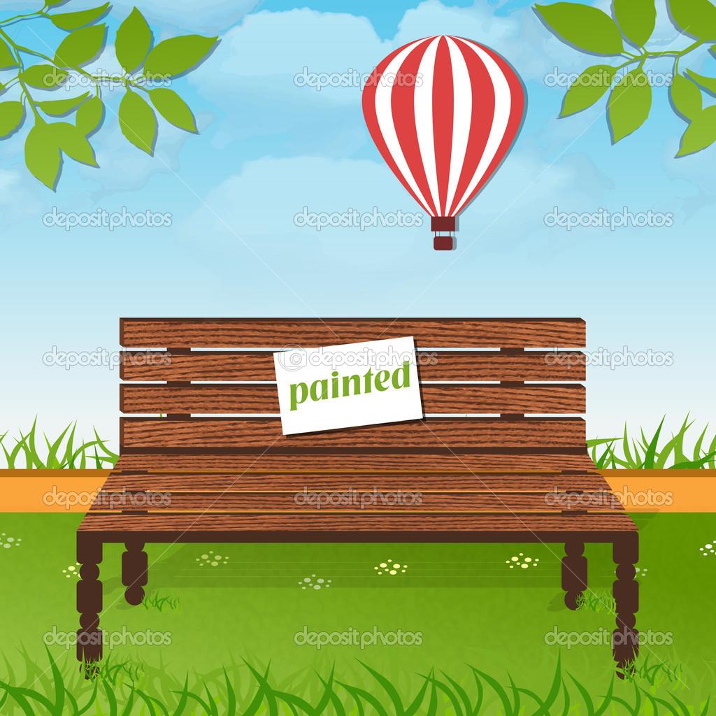 Wooden bench in park stock vector