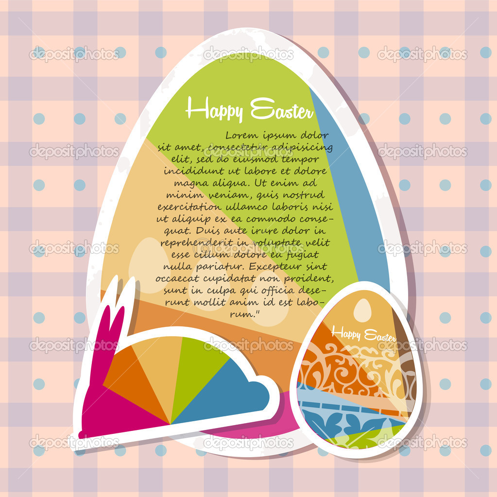 Template for happy Easter card with eggs stock vector