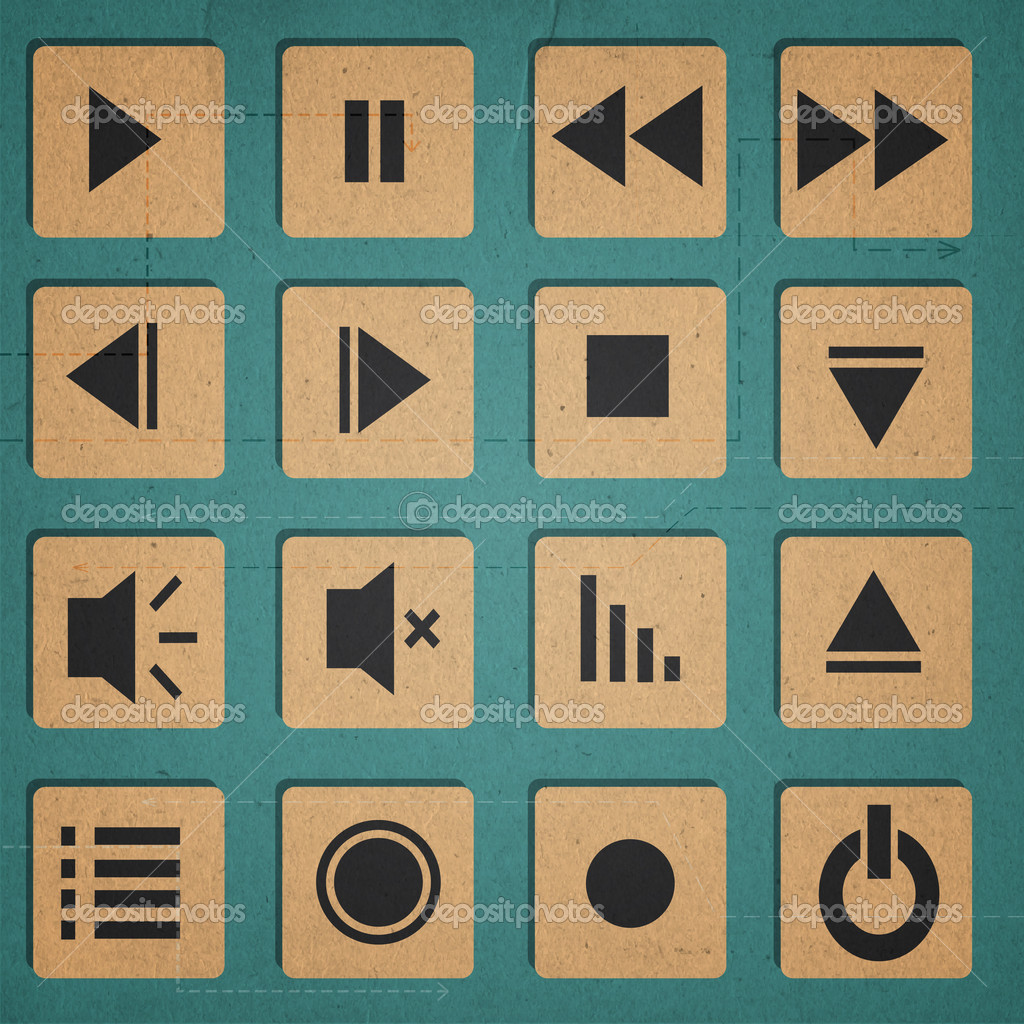 Media player icons set stock vector